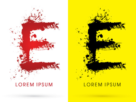 soiled: E ,font, concept blood and splash, designed using red and black  colors grunge brush, sign ,logo, symbol, icon, graphic, vector.