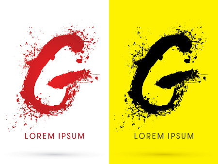 disperse: G ,font, concept blood and splash, designed using red and black  colors grunge brush, sign ,logo, symbol, icon, graphic, vector.