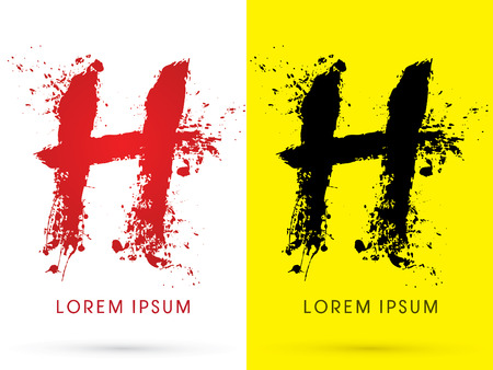 soiled: H ,font, concept blood and splash, designed using red and black  colors grunge brush, sign ,logo, symbol, icon, graphic, vector. Illustration