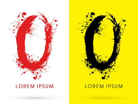o letters: O ,font, concept blood and splash, designed using red and black  colors grunge brush, sign ,logo, symbol, icon, graphic, vector.