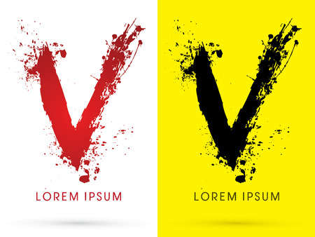 disperse: V , font, concept blood and splash, designed using red and black  colors grunge brush, sign ,logo, symbol, icon, graphic, vector.