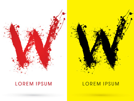disperse: W , font, concept blood and splash, designed using red and black  colors grunge brush, sign ,logo, symbol, icon, graphic, vector.