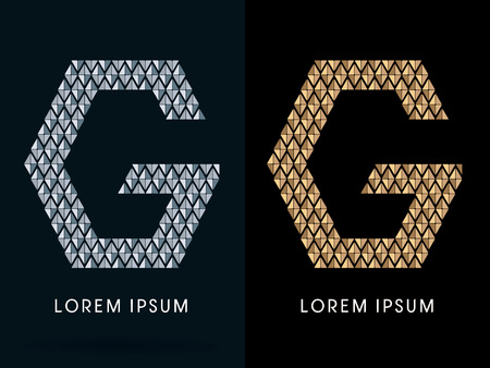gemstones: G ,Luxury Abstract Jewelry Font, designed using gold and silver colors geometric shape on dark background, sign ,logo, symbol, icon, graphic, vector.