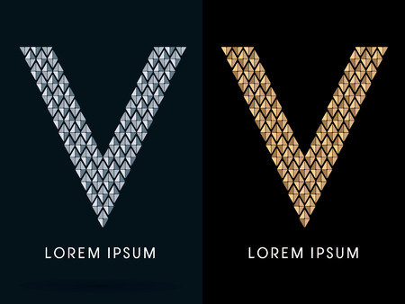 v alphabet: V ,Luxury Abstract Jewelry Font, designed using gold and silver colors geometric shape on dark background, sign ,logo, symbol, icon, graphic, vector.