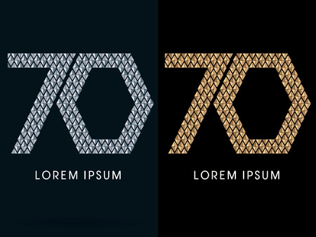 70 ,Luxury Abstract Jewelry Font, designed using gold and silver colors geometric shape on dark background, sign ,logo, symbol, icon, graphic, vector.