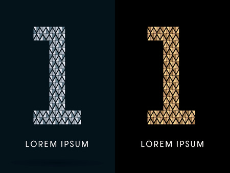 1 ,Luxury Abstract Jewelry Font, designed using gold and silver colors geometric shape on dark background, sign ,logo, symbol, icon, graphic, vector.