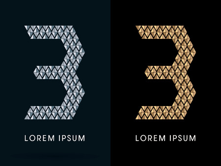 third birthday: 3 ,Luxury Abstract Jewelry Font, designed using gold and silver colors geometric shape on dark background, sign ,logo, symbol, icon, graphic, vector.