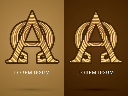 alpha: Alpha and Omega ,Abstract  font, concept wood, sign ,logo, symbol, icon, graphic, vector.