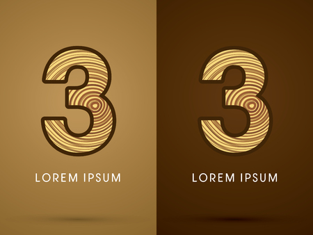 third birthday: 3 ,Abstract  font, concept wood, sign ,logo, symbol, icon, graphic, vector. Illustration