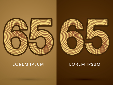 65: 65 ,Abstract  font, concept wood, sign ,logo, symbol, icon, graphic, vector.