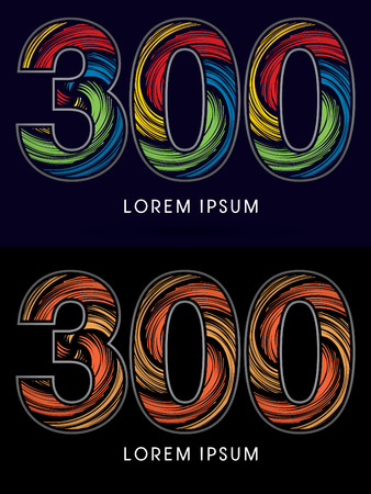 spin: 300 ,Abstract , font, concept Spin,designed using colors and gold silver bronze grunge brush,sign ,logo, symbol, icon, graphic, vector.
