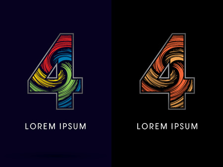 absorb: 4 ,Abstract , font, concept Spin,designed using colors and gold silver bronze grunge brush,sign ,logo, symbol, icon, graphic, vector. Illustration
