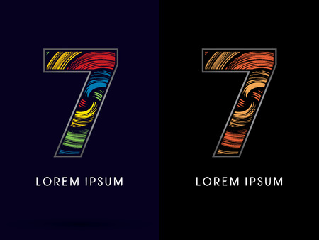 spin: 7 ,Abstract , font, concept Spin,designed using colors and gold silver bronze grunge brush,sign ,logo, symbol, icon, graphic, vector.
