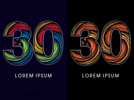 spin: 30 ,Abstract , font, concept Spin,designed using colors and gold silver bronze grunge brush,sign ,logo, symbol, icon, graphic, vector.