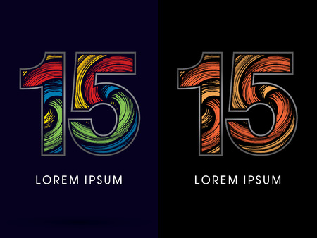 circulate: 15 ,Abstract , font, concept Spin,designed using colors and gold silver bronze grunge brush,sign ,logo, symbol, icon, graphic, vector.