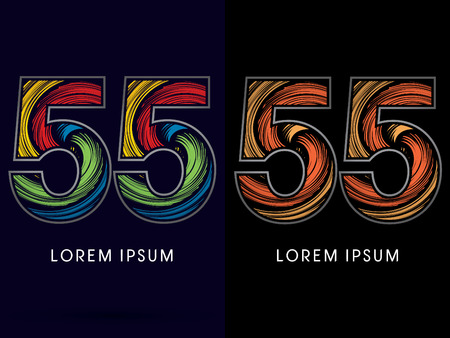 spin: 55 ,Abstract , font, concept Spin,designed using colors and gold silver bronze grunge brush,sign ,logo, symbol, icon, graphic, vector.