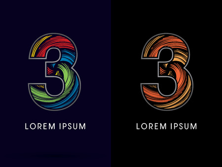 third birthday: 3 ,Abstract , font, concept Spin,designed using colors and gold silver bronze grunge brush,sign ,logo, symbol, icon, graphic, vector. Illustration