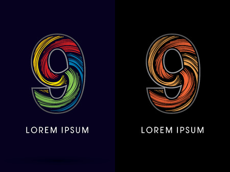 spin: 9 ,Abstract , font, concept Spin,designed using colors and gold silver bronze grunge brush,sign ,logo, symbol, icon, graphic, vector. Illustration
