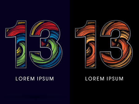 stroke of luck: 13 ,Abstract , font, concept Spin,designed using colors and gold silver bronze grunge brush,sign ,logo, symbol, icon, graphic, vector.