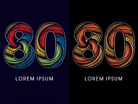 spin: 80 ,Abstract , font, concept Spin,designed using colors and gold silver bronze grunge brush,sign ,logo, symbol, icon, graphic, vector. Illustration