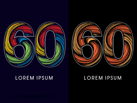 spin: 60 ,Abstract , font, concept Spin, designed using colors and gold silver bronze grunge brush,sign ,logo, symbol, icon, graphic, vector.