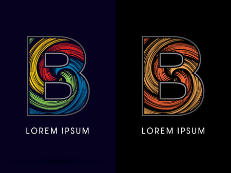 spin: B ,Abstract , font, concept Spin, designed using colors and gold silver bronze grunge brush,sign ,logo, symbol, icon, graphic, vector. Illustration