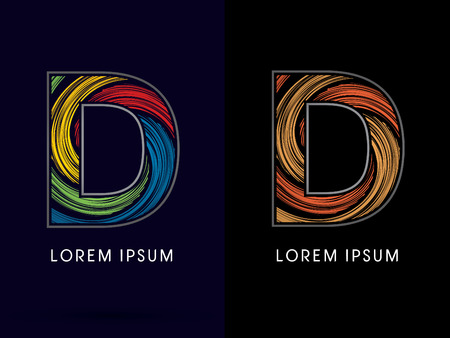 D ,Abstract , font, concept Spin, designed using colors and gold silver bronze grunge brush,sign ,logo, symbol, icon, graphic, vector. Illustration