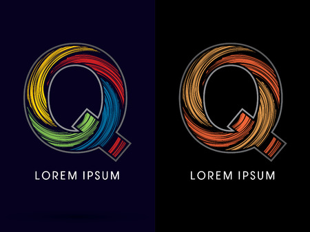 spin: Q ,Abstract , font, concept Spin, designed using colors and gold silver bronze grunge brush,sign ,logo, symbol, icon, graphic, vector. Illustration