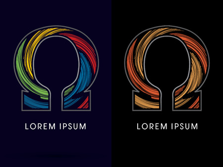 circulate: Omega ,Abstract , font, concept Spin, designed using colors and gold silver bronze grunge brush,sign ,logo, symbol, icon, graphic, vector.