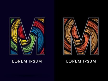 circulate: M ,Abstract , font, concept Spin, designed using colors and gold silver bronze grunge brush,sign ,logo, symbol, icon, graphic, vector. Illustration