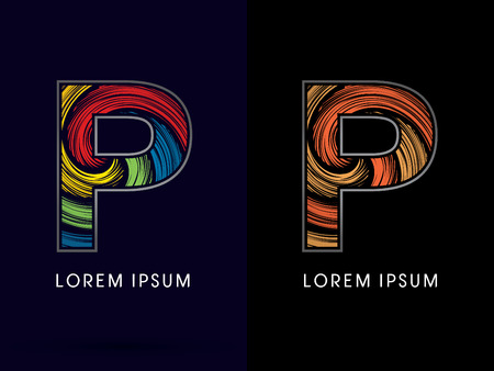 spin: P ,Abstract , font, concept Spin, designed using colors and gold silver bronze grunge brush,sign ,logo, symbol, icon, graphic, vector. Illustration