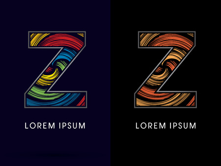 gold silver bronze: Z ,Abstract , font, concept Spin, designed using colors and gold silver bronze grunge brush,sign ,logo, symbol, icon, graphic, vector. Illustration