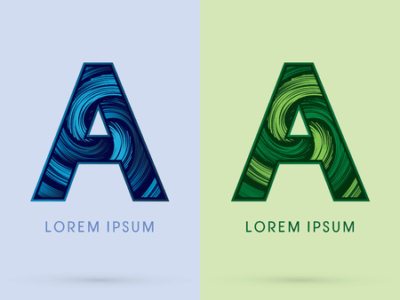 spin: A ,Abstract , font, concept Spin water, wind and natural, designed using blue and green grunge brush, sign.