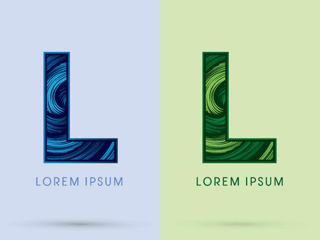 spin: L ,Abstract , font, concept Spin water, wind and natural, designed using blue and green grunge brush, sign.