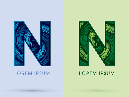 spin: N ,Abstract , font, concept Spin water, wind and natural, designed using blue and green grunge brush, sign.