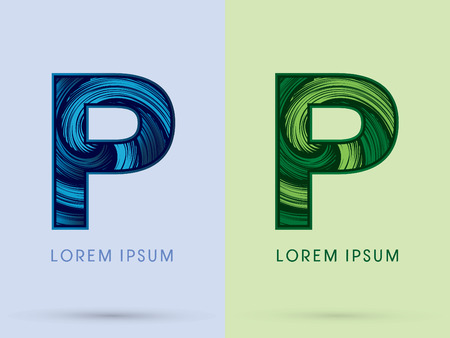 spin: P ,Abstract , font, concept Spin water, wind and natural, designed using blue and green grunge brush, sign. Illustration