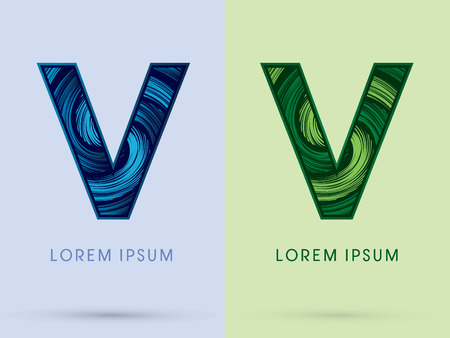 spin: V ,Abstract , font, concept Spin water, wind and natural, designed using blue and green grunge brush, sign.