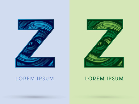 waterwheel: Z ,Abstract , font, concept Spin water, wind and natural, designed using blue and green grunge brush, sign. Illustration