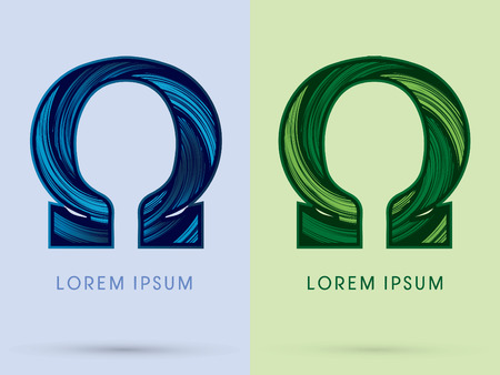 spin: Omega ,Abstract , font, concept Spin water, wind and natural, designed using blue and green grunge brush, sign.