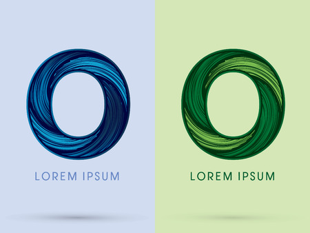 spin: O ,Abstract , font, concept Spin water, wind and natural, designed using blue and green grunge brush, sign.