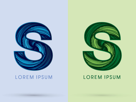 water s: S ,Abstract , font, concept Spin water, wind and natural, designed using blue and green grunge brush, sign.