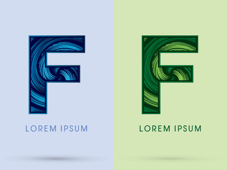 spin: F ,Abstract , font, concept Spin water, wind and natural, designed using blue and green grunge brush, sign.