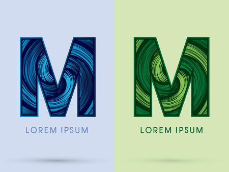 absorb: M ,Abstract , font, concept Spin water, wind and natural, designed using blue and green grunge brush, sign.