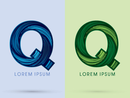 absorb: Q ,Abstract , font, concept Spin water, wind and natural, designed using blue and green grunge brush, sign.