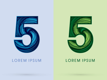 spin: 5 ,Abstract , font, concept Spin water, wind and natural, designed using blue and green grunge brush, sign. Illustration