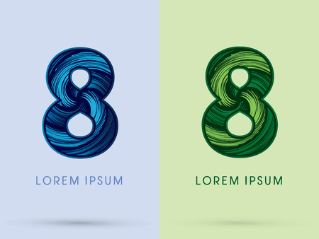 spin: 8 ,Abstract , font, concept Spin water, wind and natural, designed using blue and green grunge brush, sign.