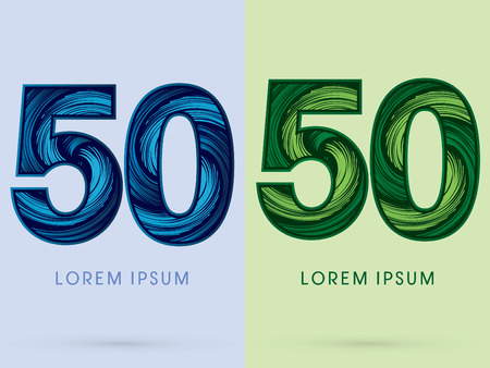 spin: 50 ,Abstract , font, concept Spin water, wind and natural, designed using blue and green grunge brush, sign.