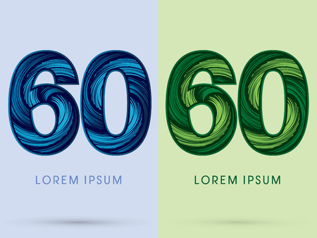 absorb: 60 ,Abstract , font, concept Spin water, wind and natural, designed using blue and green grunge brush, sign. Illustration