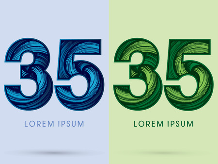 spin: 35 ,Abstract , font, concept Spin water, wind and natural, designed using blue and green grunge brush, sign.