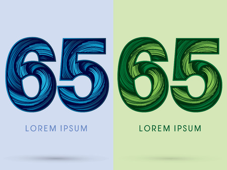 spin: 65 ,Abstract , font, concept Spin water, wind and natural, designed using blue and green grunge brush, sign.